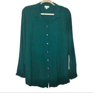 J-Jill Dark Green flowy Button up blouse. Size:XL